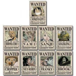 One Piece Straw Hat Crew Wanted Posters Sticker Set